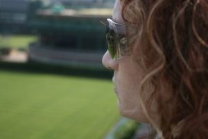 Wendy looks over the grass courts 032109 LR