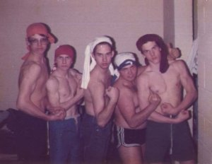 Me and some of my Gospel Team bros on a mission trip (c. 1984)