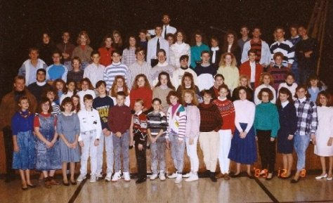 My and my youth group of 1980s kids in stonewashed denim, parachute pants, and permed hair!