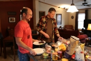 Matthew and Paul prepping lunch.