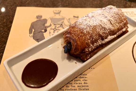 A pastry infused with dark chocolate and served with dark chocolate sauce from Casa Cortes ChocoBar in Old San Juan, Puerto Rico.