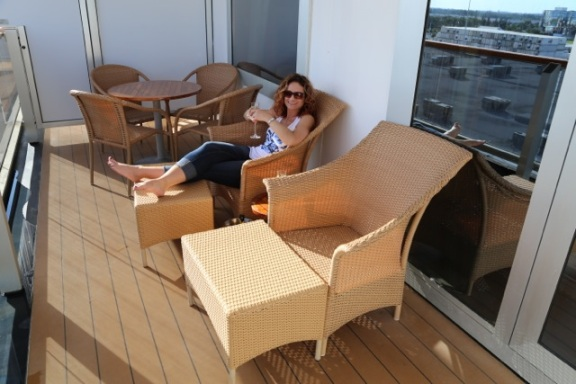 We hadn't left port, but couldn't help enjoying our stateroom verandah and the complimentary bubbly!