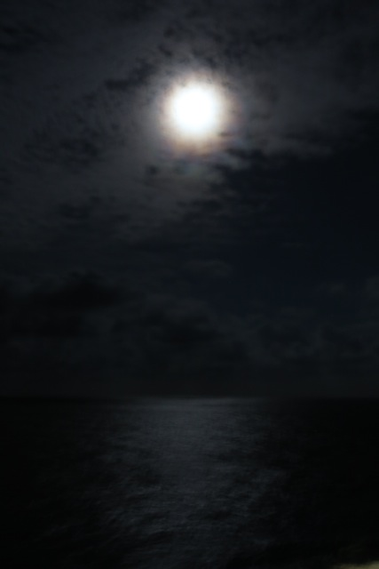 Moonlight on the waves. The view from our verandah as we sipped on an after dinner glass of wine.