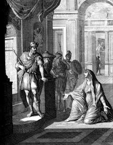 Woman of Tekoa before King David (source: wikipedia)