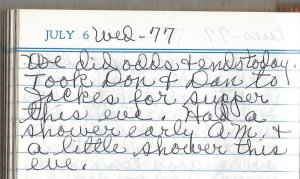 1977 07 06 Vander Well Everdina Diary Entry