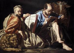 Mattias Stom's depiction of Mark (distracted and looking at us - he probably already finished his 16 chapter cliff notes version on Jesus' life) and Luke (still hard at work with his research).