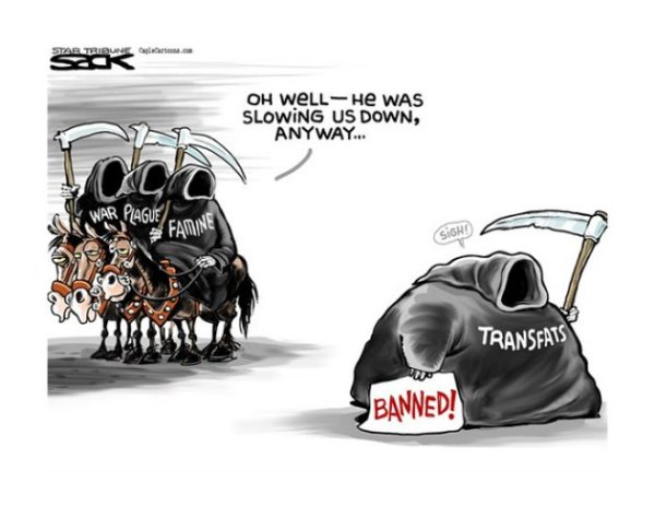 "Taking a person or issue and layering it in a different metaphorical imagery has long been a way we humorously address subjects and issues. In this editorial cartoon Steve Sack cloaks ""trans fats"" as one of the Biblical four horsemen of the apocalypse."