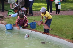 Boys playing at the Pella Historical Village.