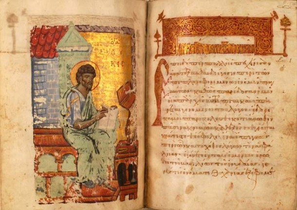 An illuminated manuscript showing Dr. Luke at his writing desk.