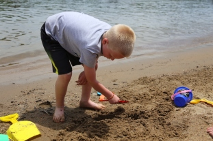 Playing on the beach at Captain Ron's.