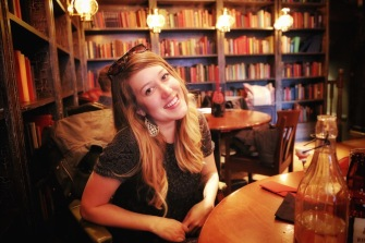 Taylor in the Queen's Arms Pub.