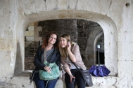 Taylor and Wendy enjoy the entertaining audio tour of Doune Castle.