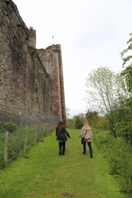 Walking around the outside of Doune Castle.