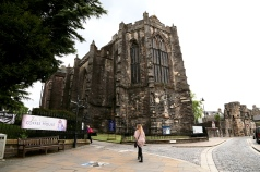 Walking up to Holy Rude church in Stirling, Scotland.