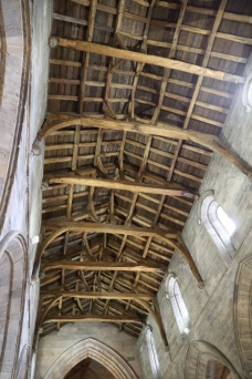 The hewn oak timber roof of Holy Rude Church, held together with oak pins.