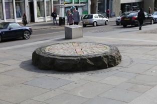 """""""X"""" marks the spot where public executions took place on Grassmarket in Edinburgh."""