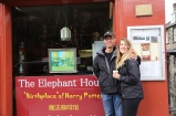 Tom and Taylor in front of Elephant House, where J.K. Rowling wrote Harry Potter.
