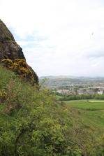 About half-way up Arthur's Seat, a view of Edinburgh below.