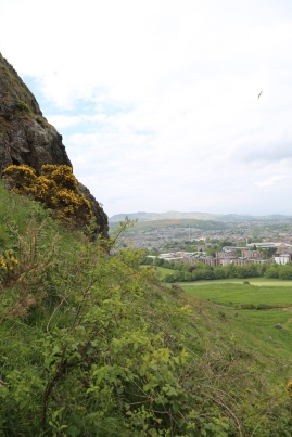About half-way up Arthur's Seat, a view of Edinburgh below.