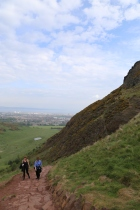 Taylor and Wendy climbing Arthur's Seat.