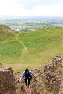 This is one of my favorite photos of the week. Wendy climbs the home stretch to the summit of Arthur's Seat.