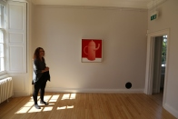Wendy stands in the warm sun at Inverleith House Gallery on the grounds of the Royal Botanic Gardens, Edinburgh.