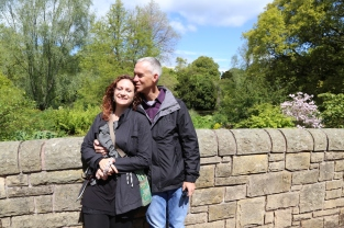 Kissing on the bridge at Royal Botanic Gardens, Edinburgh.