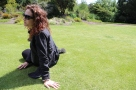 Wendy chats with Taylor on the lawn at Royal Botanic Gardens, Edinburgh.