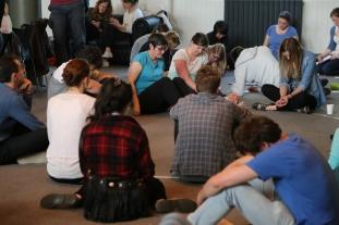 Prayer time at Central in Edinburgh.