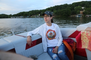 Becky in the boat