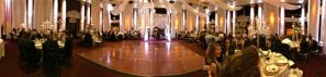 Panorama of the ballroom during dinner.