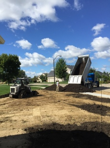 Dumping dirt for lawn