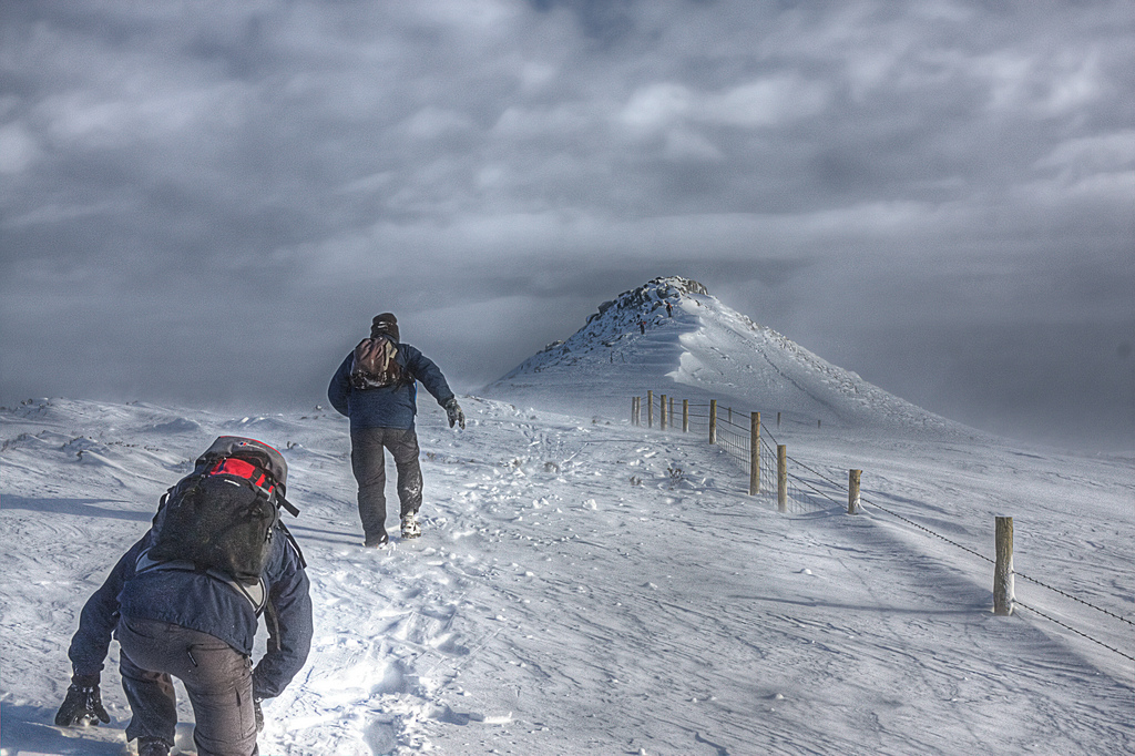 uphill trek