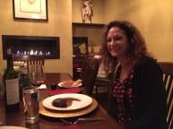 Wendy and I enjoy Christmas Eve steak dinner.