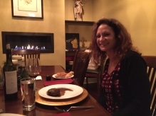 Wendy and I enjoy Christmas Eve steak dinner.