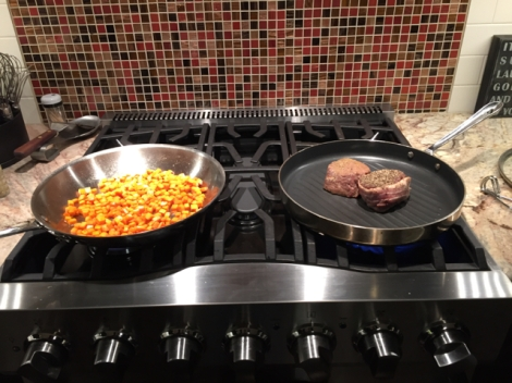 Filet Mignon and Wendy's sweet potato hash. Mmmm.
