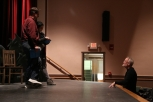 Jana DeZwarte and Spence Ver Meer with Director Kevin McQuade in Almost, Maine rehearsal