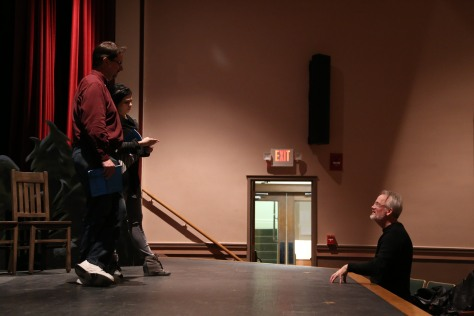 "Director Kevin McQuade directs Spence Ver Meer and Jana DeZwarte in USP's ""Almost, Maine."""