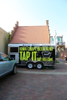The Iowa Craft Beer team set up to serve in the Cellar's converted garage.