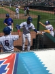 Contreras hits a grand slam and gives young fans a high-five.