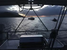 Back into Hanalei Bay at dusk.