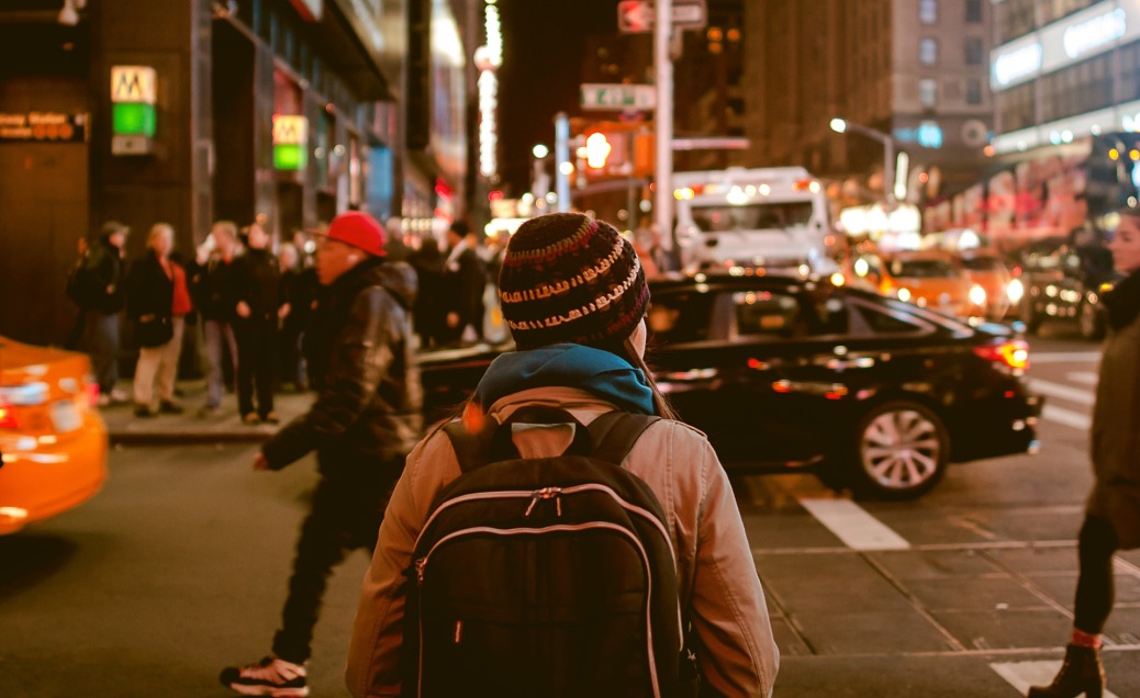 Backpack Individual Crowded City Street