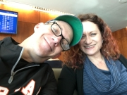Here we go! Hangin' in the United Club on our layover in Denver.