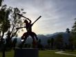 Baseball, sculpture, sunshine, and a gorgeous mountain landscape.