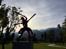 Baseball, sculpture, sunshine, and a gorgeous mountain landscape.