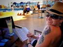 Reading by the pool. We did this ALOT!
