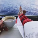 Coffee, waves, and a good book. Perfect morning.