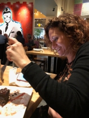 Chocolate always makes her smile. Celebrating Chad's birthday at Malo.