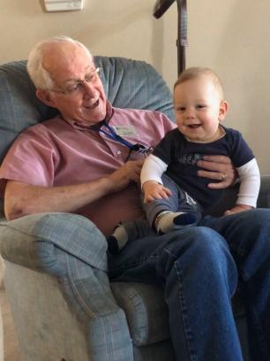 Great-Grandpa Dean with Milo.